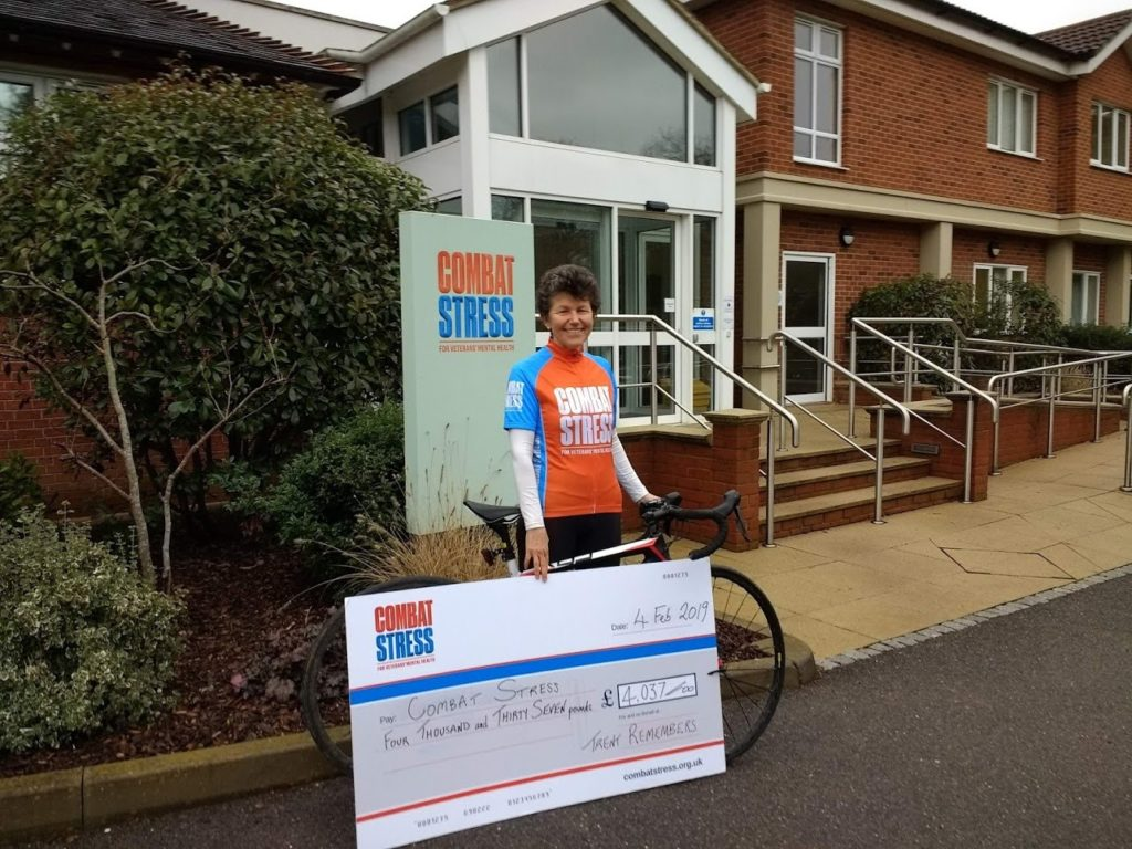 Sarah Crosby personally delivered a cheque for over £4,000 to Combat Stress at their Surrey headquarters